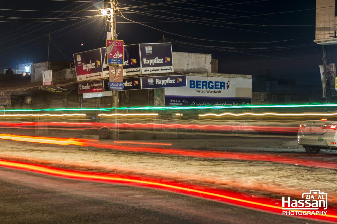 Traffic Lights Long Exposure In A Small Town Of Pakistan